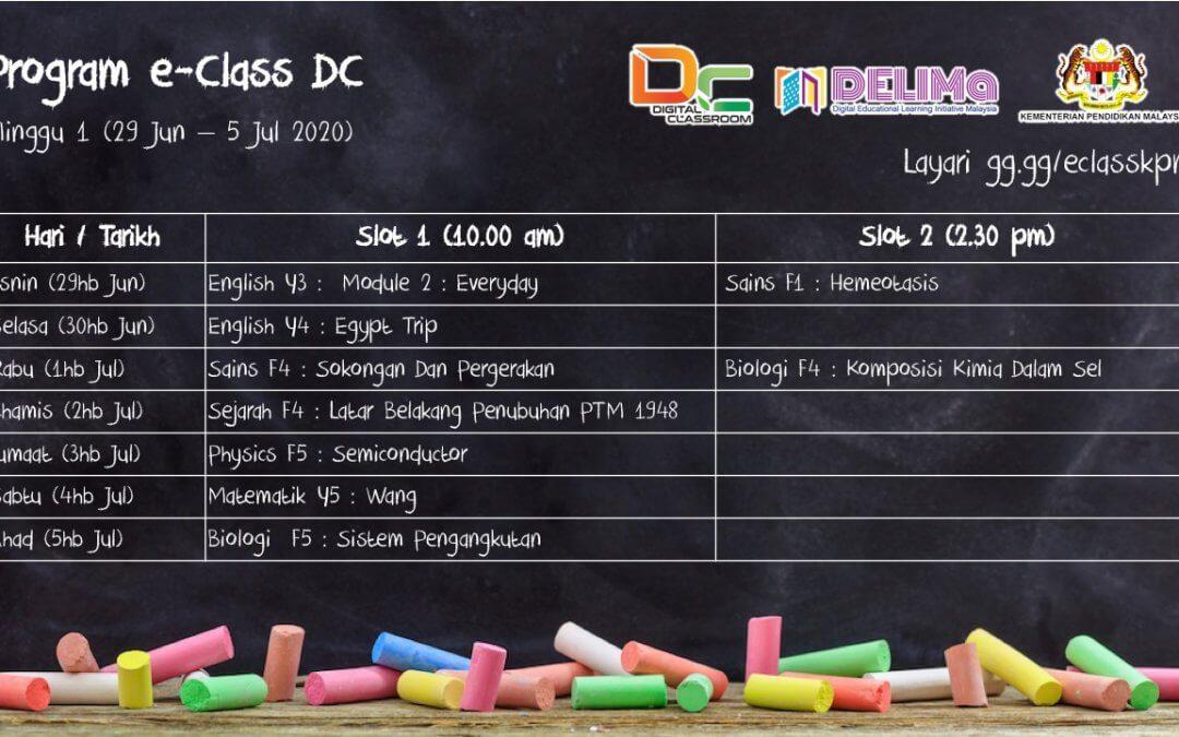 Jadual eClass Musim Ke-3 (Minggu 1)